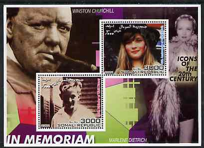 Somalia 2001 In Memoriam - Princess Diana & Walt Disney #07 perf sheetlet containing 2 values with Churchill & Marlene Dietrich in background unmounted mint