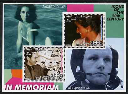 Somalia 2001 In Memoriam - Princess Diana & Walt Disney #09 perf sheetlet containing 2 values with Liz Taylor & Neil Armstrong in background unmounted mint