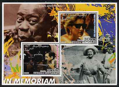 Somalia 2001 In Memoriam - Princess Diana & Walt Disney #10 perf sheetlet containing 2 values with Louis Armstrong & Queen Mother in background unmounted mint