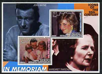 Somalia 2001 In Memoriam - Princess Diana & Walt Disney #13 perf sheetlet containing 2 values with John Wayne & Margaret Thatcher in background unmounted mint