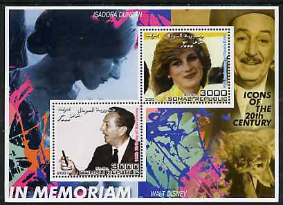 Somalia 2001 In Memoriam - Princess Diana & Walt Disney #15 perf sheetlet containing 2 values with Isadora Duncan in background unmounted mint