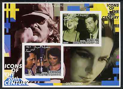 Somalia 2001 Icons of the 20th Century #03 - Elvis & Marilyn imperf sheetlet containing 2 values with Spielberg & Greta Garbo in background unmounted mint
