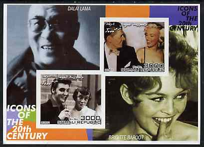 Somalia 2001 Icons of the 20th Century #07 - Elvis & Marilyn imperf sheetlet containing 2 values with Dalai Lama & Brigitte Bardot in background unmounted mint