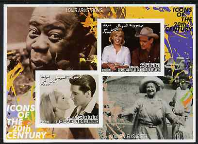 Somalia 2001 Icons of the 20th Century #12 - Elvis & Marilyn imperf sheetlet containing 2 values with Louis Armstrong & Queen Mother in background unmounted mint