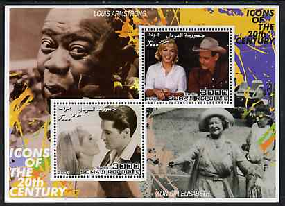 Somalia 2001 Icons of the 20th Century #12 - Elvis & Marilyn perf sheetlet containing 2 values with Louis Armstrong & Queen Mother in background unmounted mint