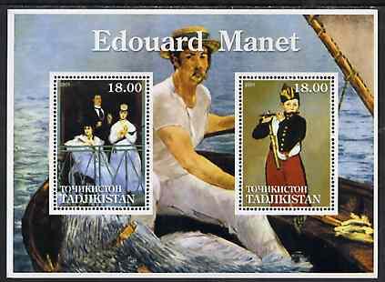 Tadjikistan 2001 Edouard Manet perf sheetlet containing 2 values unmounted mint