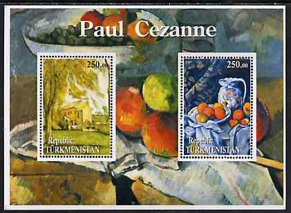 Turkmenistan 2001 Paul Cezanne perf sheetlet containing 2 values unmounted mint