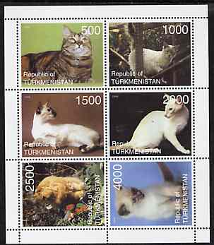 Turkmenistan 1998 Domestic Cats perf sheetlet containing 6 values unmounted mint