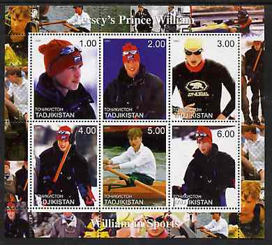 Tadjikistan 2000 Prince William - William in Sports perf sheetlet containing 6 values unmounted mint