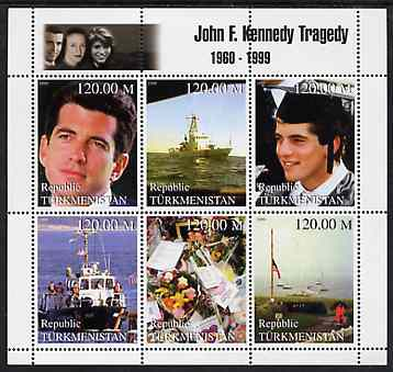 Turkmenistan 1999 John F Kennedy Jnr Tragedy perf sheetlet containing 6 values unmounted mint