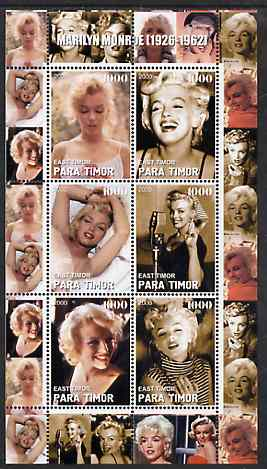 Timor (East) 2000 Marilyn Monroe #1 perf sheetlet containing 6 values unmounted mint
