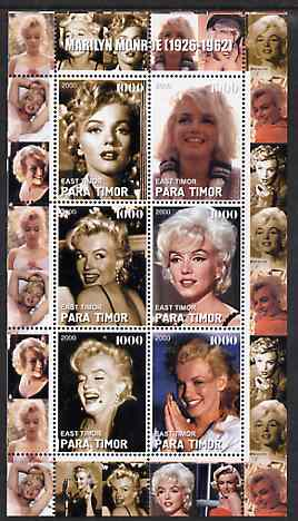 Timor (East) 2000 Marilyn Monroe #2 perf sheetlet containing 6 values unmounted mint