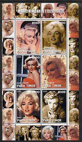 Timor (East) 2000 Marilyn Monroe #3 perf sheetlet containing 6 values unmounted mint