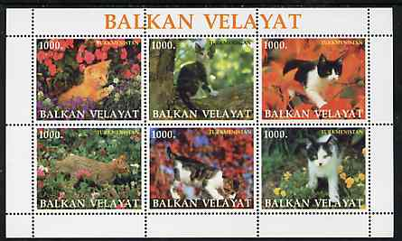 Turkmenistan (Balkan Velayat) 1999 ? Domestic Cats perf sheetlet containing 6 values unmounted mint