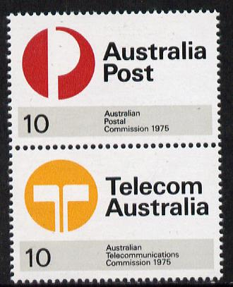 Australia 1975 Postal & Telecommunications se-tenant pair unmounted mint SG 600a, stamps on communications  postal