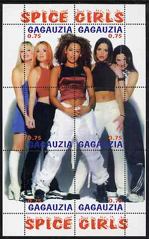 Gagauzia Republic 1998 Spice Girls composite perf sheetlet containing complete set of 6 values unmounted mint