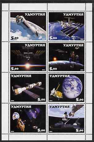 Udmurtia Republic 2001 Space Travel perf sheetlet containing complete set of 8 values unmounted mint