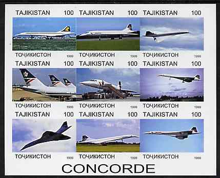 Tadjikistan 1999 Concorde imperf sheetlet containing complete set of 9 values unmounted mint