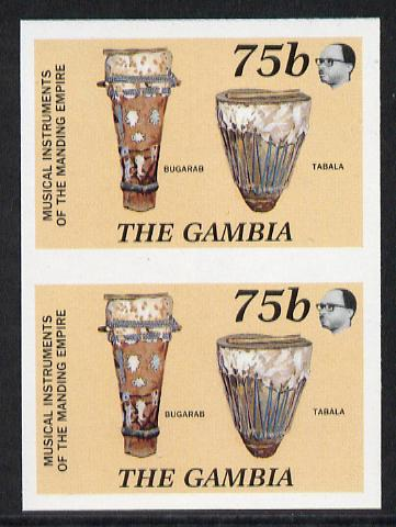 Gambia 1987 Musical Instruments 75b (Bugarab & Tabala) imperf pair as SG 686*