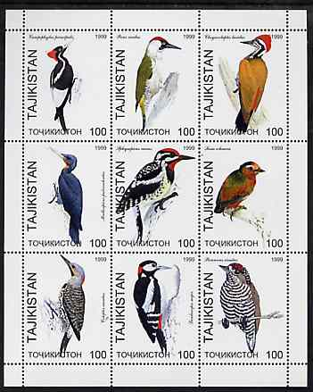 Tadjikistan 1999 Woodpeckers perf sheetlet containing complete set of 9 values unmounted mint