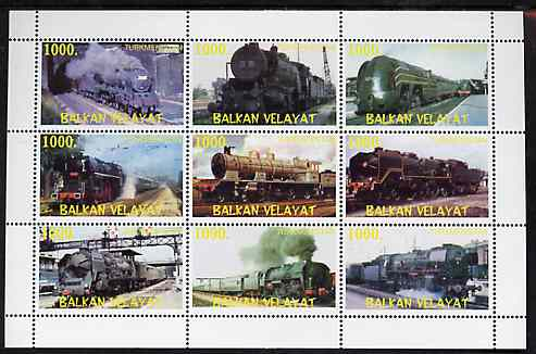 Turkmenistan (Balkan Velayat) 1999 ? Steam Locos perf sheetlet containing 9 values unmounted mint