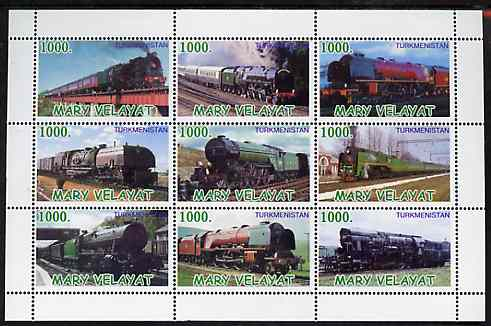 Turkmenistan (Mary Velayat) 1999 ? Steam Locos perf sheetlet containing 9 values unmounted mint