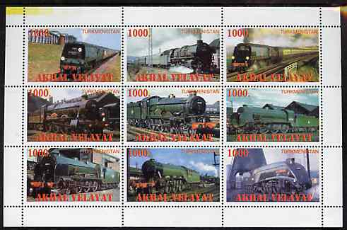 Turkmenistan (Akhal Velayat) 1999 ? Steam Locos perf sheetlet containing 9 values unmounted mint
