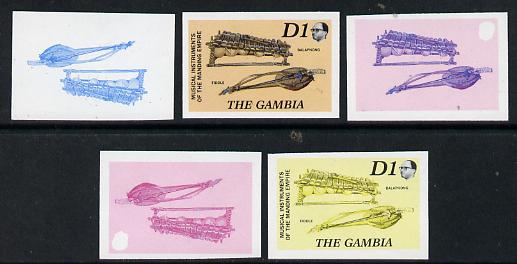 Gambia 1987 Musical Instruments 1d (Balaphong & Fiddle) set of 5 imperf progressive colour proofs comprising blue & magenta individual colours, two 2-colour composites (b...