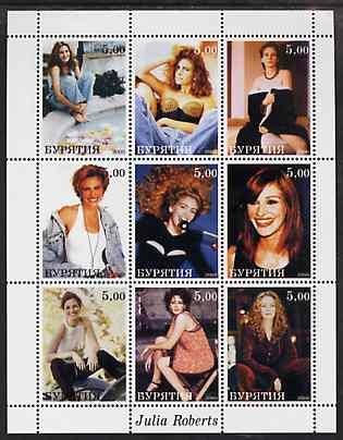 Buriatia Republic 2000 Julia Roberts perf sheetlet containing 9 values unmounted mint