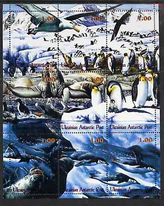 Ukranian Antarctic Post 2000 ? Polar Life #2 composite perf sheetlet containing 9 values unmounted mint