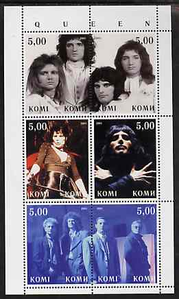 Komi Republic 2001 Queen (Pop Group) perf sheetlet containing 6 values unmounted mint