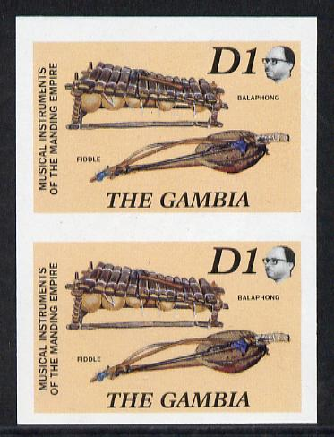 Gambia 1987 Musical Instruments 1d (Balaphong & Fiddle) imperf pair as SG 687*