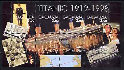 Gagauzia Republic 1998 Titanic perf sheetlet containing set of 8 values unmounted mint