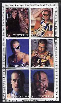 Udmurtia Republic 2000 Brad Pitt perf sheetlet containing 6 values unmounted mint
