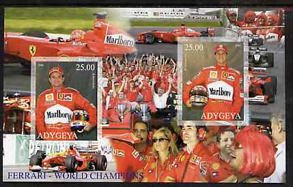 Adigey Republic 2000 Ferrari - World Champions rouletted sheetlet containing 2 values unmounted mint