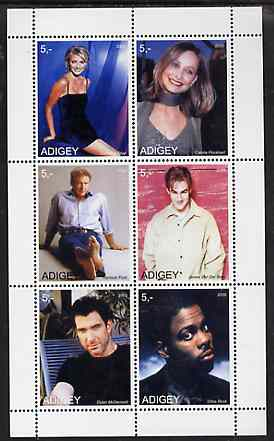 Adigey Republic 2000 Film Stars perf sheetlet containing 6 values unmounted mint (Harrison Ford, Cameron Diaz etc)