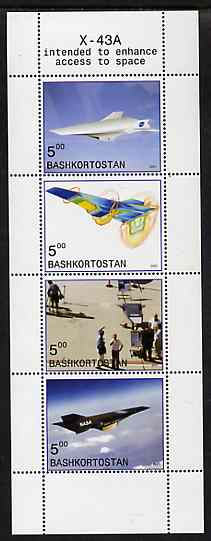 Bashkortostan 2001 X-43A Experimental Aircraft perf sheetlet containing 4 values unmounted mint