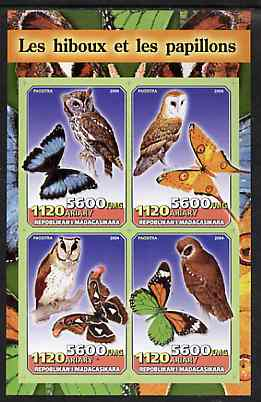Madagascar 2004 Owls & Butterflies imperf sheetlet containing set of 4 values unmounted mint