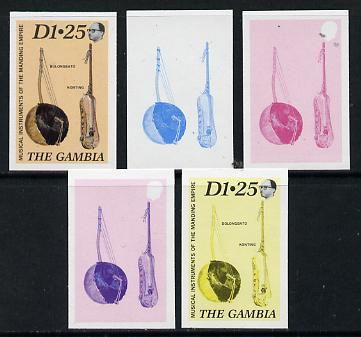 Gambia 1987 Musical Instruments 1d25 (Bolongbato & Konting) set of 5 imperf progressive colour proofs comprising blue & magenta individual colours, two 2-colour composites (blue & magenta and black & yellow) plus all 4 colours (ex one of the two Format archive sheets) as SG 688 unmounted mint*
