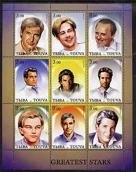 Touva 2001 Greatest Stars #1 (Male) perf sheetlet containing 9 values unmounted mint