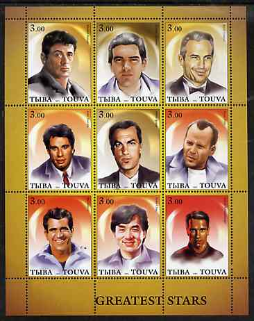 Touva 2001 Greatest Stars #2 (Male) perf sheetlet containing 9 values unmounted mint