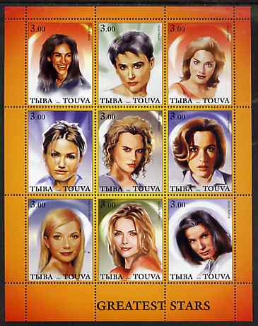 Touva 2001 Greatest Stars #3 (Female) perf sheetlet containing 9 values unmounted mint