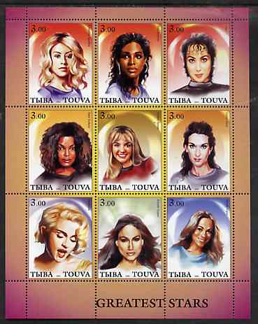 Touva 2001 Greatest Stars #4 (Female) perf sheetlet containing 9 values unmounted mint