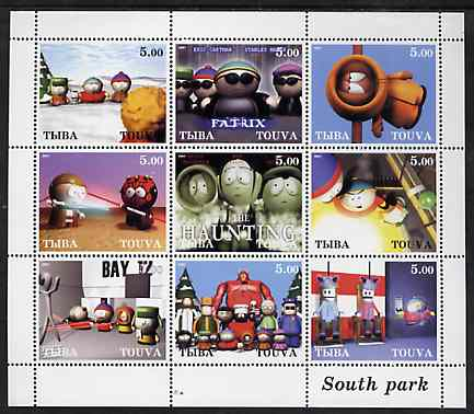 Touva 2001 South Park perf sheetlet containing 9 values unmounted mint