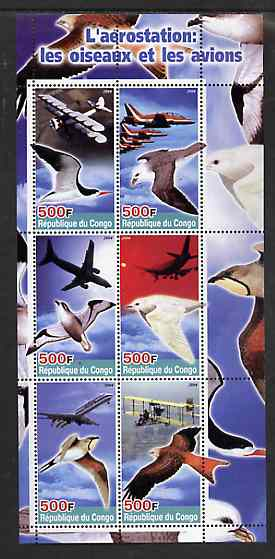 Congo 2004 Birds & Aircraft perf sheetlet containing 6 values unmounted mint