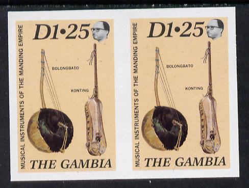 Gambia 1987 Musical Instruments 1d25 (Bolongbato & Konting) imperf pair as SG 688*
