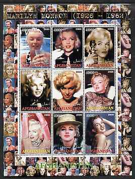 Afghanistan 2000 Marilyn Monroe #1 perf sheetlet containing set of 9 values unmounted mint