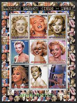 Afghanistan 2000 Marilyn Monroe #2 perf sheetlet containing set of 9 values unmounted mint