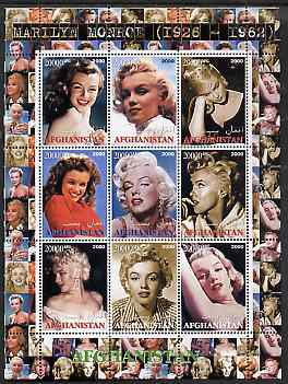 Afghanistan 2000 Marilyn Monroe #3 perf sheetlet containing set of 9 values unmounted mint