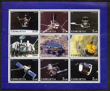 Udmurtia Republic 2001 Space Missions perf sheetlet containing complete set of 9 values unmounted mint